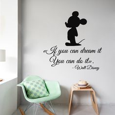 Mouse Wall Decals Quote If You Can Dream It You Can Do It Cartoon Character Home Art Vinyl Decal Sticker Kids Nursery Baby Room Decor ☆ º ♥ Mickey Mouse Wall Decals, Mickey Mouse Room, Disney Wall Decals, Nursery Wall Stickers, Mickey Mouse Quotes, Baby Room Colors, Baby Boy Room Decor, Baby Boy Rooms, Girl Bedroom Walls