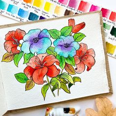 Summer, why are you so far away? Watercolor Sketchbook, Sketchbook Pages, Watercolour Painting, Floral Watercolor, Watercolours, Art Floral, Floral Design, Illustration Blume, Floral Illustrations