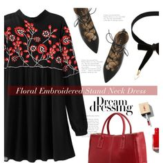 Floral dress by meyli-meyli on Polyvore featuring moda, Office, Yves Saint Laurent, dress, floraldress, blackandred and rosegal