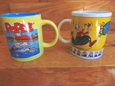 Vintage Lot Two Popeye Olive Oil Sweet Pea Coffee Tea Mugs Cups Unique Fun Swee Pea, Popeye And Olive, Olive Oyl, Mug Cup, Tea Mugs, Tea Time, Action Figures, Cups, Oil