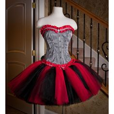 Size Small Queen of Hearts Red black and white burlesque corset tutu... ($450) ❤…