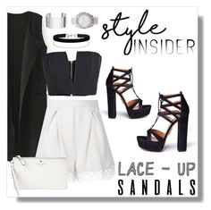 """""""Lace-Up Sandals"""" by ohjessica ❤ liked on Polyvore featuring Zimmermann, Balmain, Aquazzura, Kate Spade, Miss Selfridge, Dinh Van, Michael Kors, monochrome, contest and contestentry"""