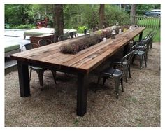 Rustic Outdoor Dining Tables, Rustic Outdoor Furniture, Patio Dining, Outdoor Living, Antique Furniture, Modern Furniture, Picnic Tables, Garden Furniture, Furniture Design