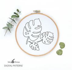 Monstera tropical plant leaf Digital hand by inkandocean on Etsy