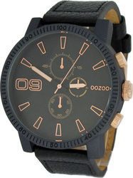 Oozoo XXL Τimepieces Black Leather Strap C6484