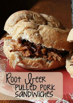 Root Beer Pulled Pork Sandwiches - pork roast slow cooked in root beer and then mixed with BBQ - these are amazing!