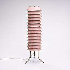 Table lamp by Maija Mehiläinen, 1955, Asko/Hienoteräs.  Metal and brass. 51 cm.