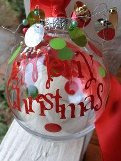 Christmas Ornament  Vinyl Letters Cut With A Cricut Machine
