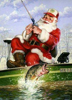 Bass fishing santa