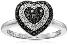 Sterling Silver 1/10cttw Black Diamond Heart Ring, Size 7 * Want to know more, click on the image. (This is an Amazon Affiliate link and I receive a commission for the sales)