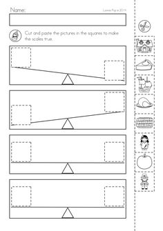 Kindergarten Thanksgiving Math & Literacy Worksheets and Activities. A page from the unit: Cut and paste the Thanksgiving elements to make the wight shown by the scales true Measurement Worksheets, Literacy Worksheets, Printable Preschool Worksheets, Math Literacy, Worksheets For Kids, Kindergarten Math, Math Resources, Math Activities, Maths