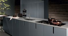 Kitchen with integrated handles with peninsula HD23 | Kitchen with integrated handles - Rossana