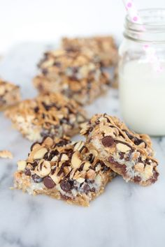 7 Layer Oatmeal Chocolate Chip Cookie Bars by halfbakedharvest #Cookies #Oatmeal #Chocolate_Chip #Coconut