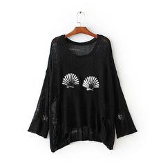 Autumn winter new women's shell sequin embroidery pullover sweater black