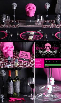 """""""Ghouls Night Out"""" -- Glamorous Pink & Black Halloween Party.  Sparkles & skulls, diamonds and demons!"""