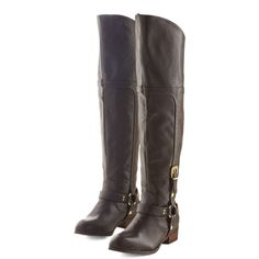 Luxe Just Down the Road Boot by ModCloth (91 BRL) ❤ liked on Polyvore featuring shoes, boots, boot - bootie, brown, flat boot, flat boots, over the knee flat boots, brown over-the-knee boots, brown ankle boots and thigh high boots