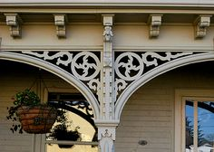 Spandrel in architecture: Spandrels are either turned or sawed work that extend from one post to another.