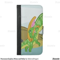 Parasaurolophus Mom and Baby iPhone 6/6s Plus Wallet Case #dinosaur #parasaurolophus #mom #mothersday #jurassic