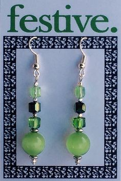festive. earrings are joyfully made for you using: Nickel-free silver plated hooks, Czech glass beads, Swarovski crystals, imported beads, lampwork