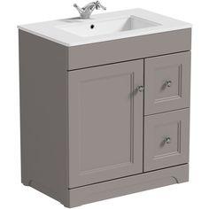 The Bath Co. Winchester graphite grey floorstanding vanity unit and quartz-top basin Basin, Traditional Bathroom, Bathroom Furniture, Luxury Flooring, Vanity Units, Vanity, Back To Wall Toilets, Adjustable Shelving, Toilet And Basin Unit