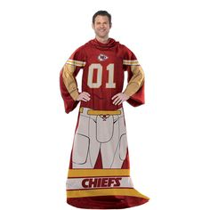 Kansas City Chiefs NFL Uniform Comfy Throw Blanket w- Sleeves