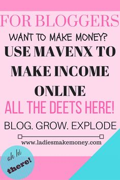 Want to make money using your blog? Sign up for Mavenx and starting earning some potential income today! affiliatelink