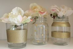 Hand painted gold mason jars! Set of 3 pint gold mason jars! Great for bridal shower, wedding or the home! on Etsy, $18.00