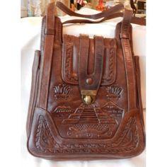 Vintage Avelars Mayan Hand Tooled Leather Purse