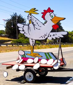 """Mobile """"Yoga Chicken"""" sign in front of Bikram Yoga, Petaluma, CA (may not be hand painted but it sure makes me smile!)"""