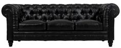 Zahara Black Leather SofaComfort and style define our Zahara collection. A modern interpretation of the classic Chesterfield design, this handcrafted sofa will add style and timeless appeal to any room.