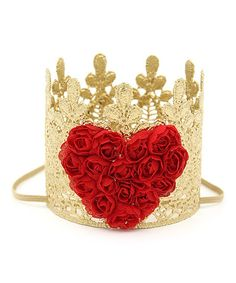 Love Crush Crowns Gold & Red Sage Heart Crown | zulily