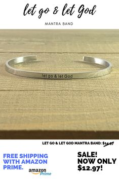 2980b9406f2 Let Go   Let God Stainless Steel Mantra Band only  12.97!  mantraband   mantra  mantrabands  letgoletgod  christian  christianjewelry  cuff   jewelrycuff ...