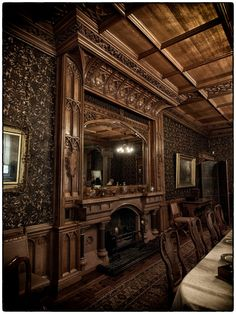 Gorgeous woodwork, fireplace and wallpaper in our castle home. Gothic Interior, Mansion Interior, Classic Interior, Interior Trim, Interior And Exterior, Victorian Gothic, Victorian Homes, English Decor, Victorian Interiors