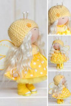 Bee doll doll Fabric doll Interior doll Handmade doll Textile doll Tilda doll Yellow doll Cloth doll Baby doll Art doll by Master Tanya E
