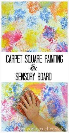 Carpet Sample Painting & Sensory Board by Crayon Box Chronicles
