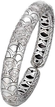 John Hardy Naga Silver Slim Flex Cuff with Diamonds
