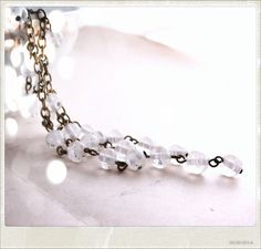 Beautiful white necklace with vintage glass beads.