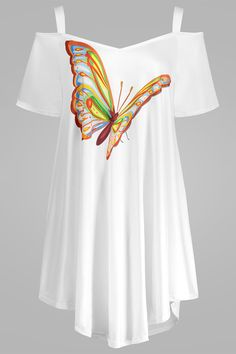 $15.81 Butterfly Print Cold Shoulder Plus Size Top - White