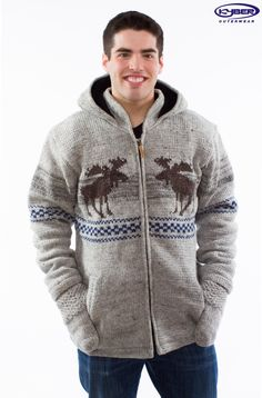 Collections :: 2015 Wool Sweaters (USA) :: Lt. Grey w/ Moose Design - Wool Sweater (Mens) - US - Fair Isles, Wool Sweaters, Moose, Hooded Jacket, Men Sweater, Collections, Patterns, Usa, Grey
