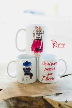 Cute coffee mugs from RongrongIllustration, great gift ideas for coffee lovers and fashionistas!