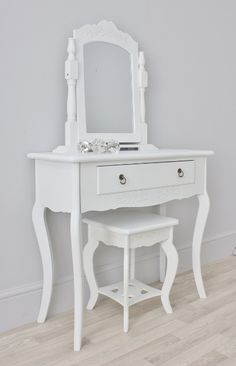 vintage-daisy-small-white-girls-dressing-table-swing-mirror-stool-set
