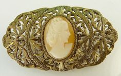 Vintage 800 Silver Shell Cameo Brooch by jujubee1 on Etsy