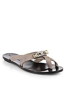 Proenza Schouler - Metal-Detailed Leather Thong Sandals