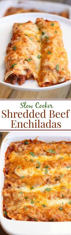 Slow Cooker Shredded Beef Enchiladas -- tender shredded beef cooked in a simple homemade enchilada sauce. Layered in tortillas, topped with cheese and bake until bubbly! You'll never use canned enchilada sauce again! #mexicanfoodrecipes