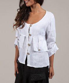 Another great find on #zulily! White Pocket Linen Button-Up Jacket by La Belle Hélène #zulilyfinds