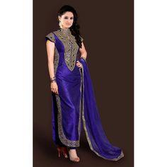 Designer Blue Wedding Wear Straight Cut Salwar Suit - ST887MH( ARTI-551 )