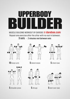 Upperbody Builder Workout – Fitness&Health&Gym For Women Fitness Workouts, Weight Training Workouts, Gym Workout Tips, Workout Plans, Arm Workout Men, Home Ab Workout Men, Full Arm Workout, Rugby Workout, Spartan Workout