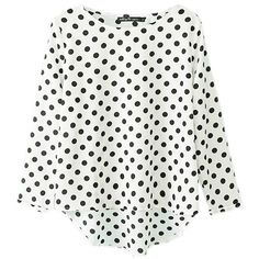 Casual Women Loose Polka Dot Long Sleeve Chiffon T-shirt ($11) ❤ liked on Polyvore featuring tops, t-shirts, white top, white tee, long sleeve tops, print tee and white long sleeve tee