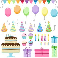 Birthday Party set clipart  instant download  300 dpi