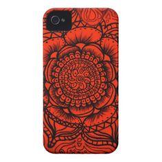 Explosion-3 Red Mandala iPhone 4 Barely There Case #zazzle #red #mandala #iphone